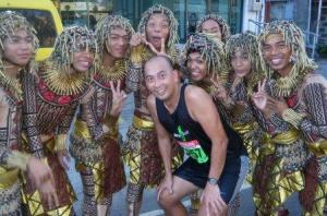 With some Sinulog dancer cheeres in the Cebu City Marathon 2010